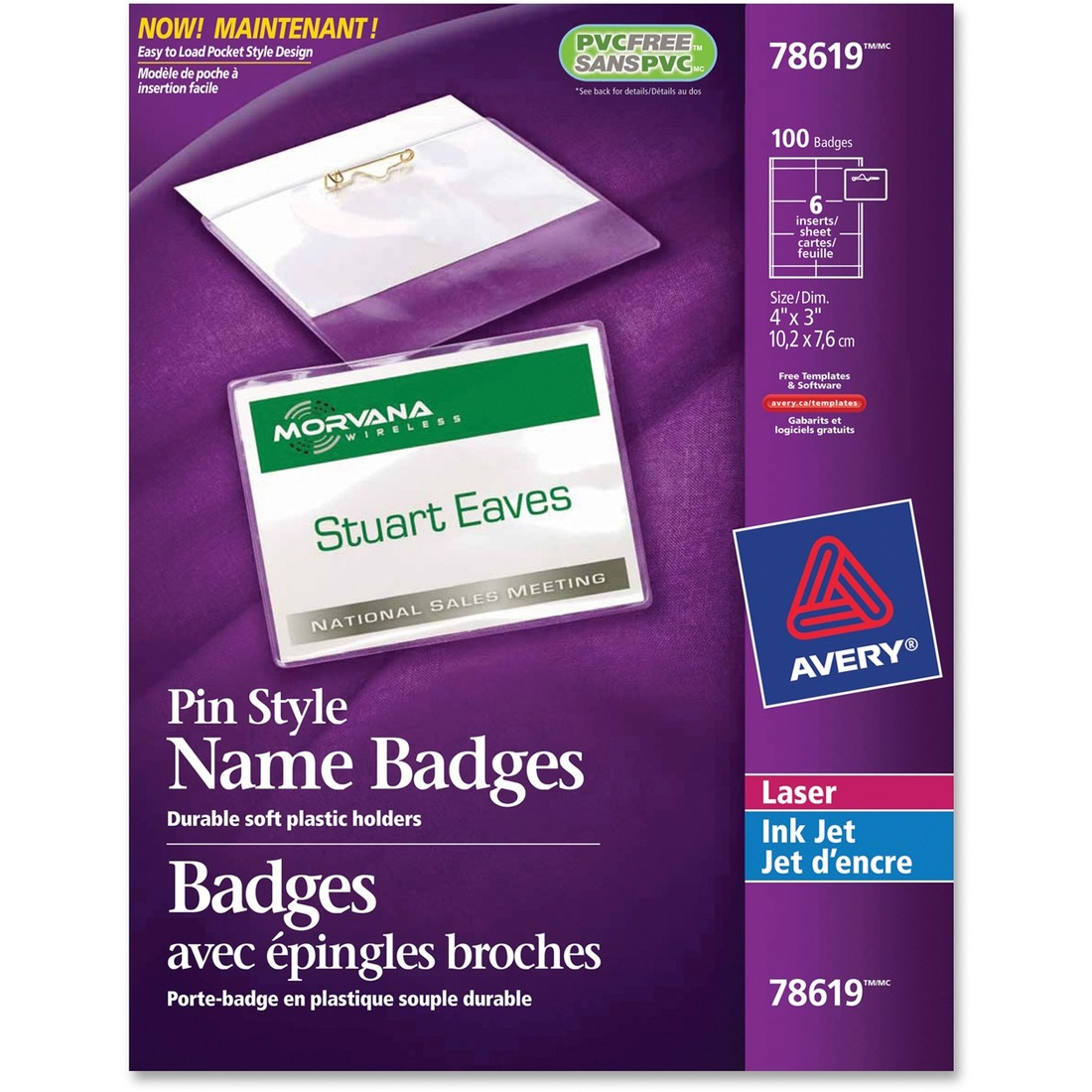 Avery® 78619 Laser/Inkjet Badge Insert