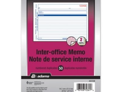 Adams Preprinted Interoffice Memo Book
